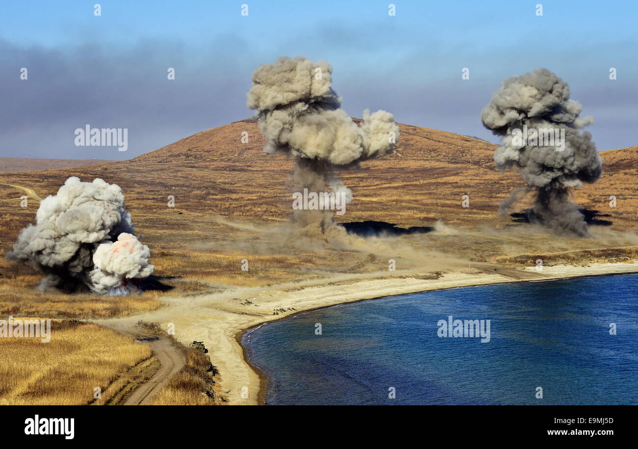 Vladivostok, Russia. 30th October, 2014. A tactical exercise by the Russian Pacific Fleet Amphibious Divison at - Stock Image