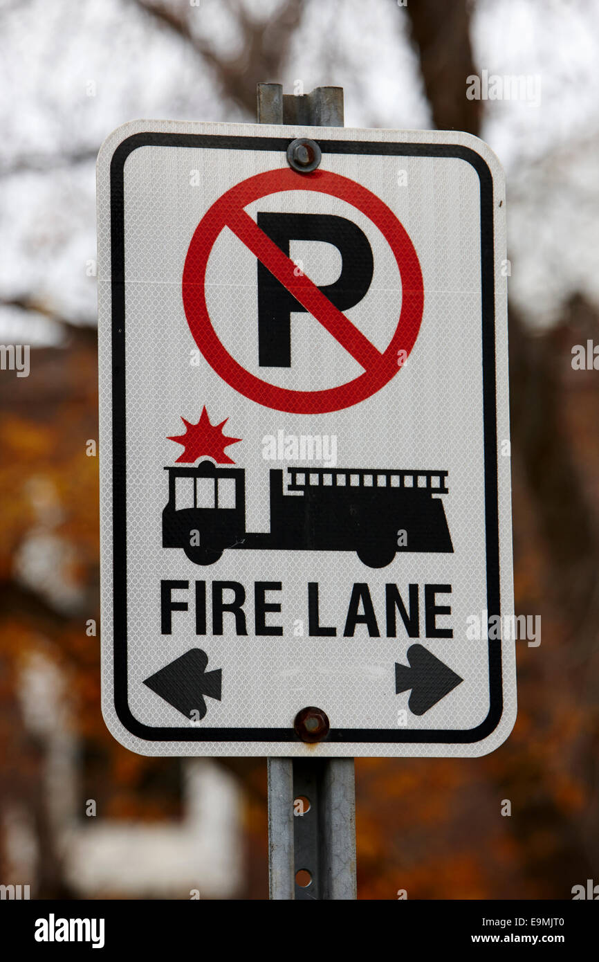 no parking fire lane sign in Saskatchewan CanadaStock Photo