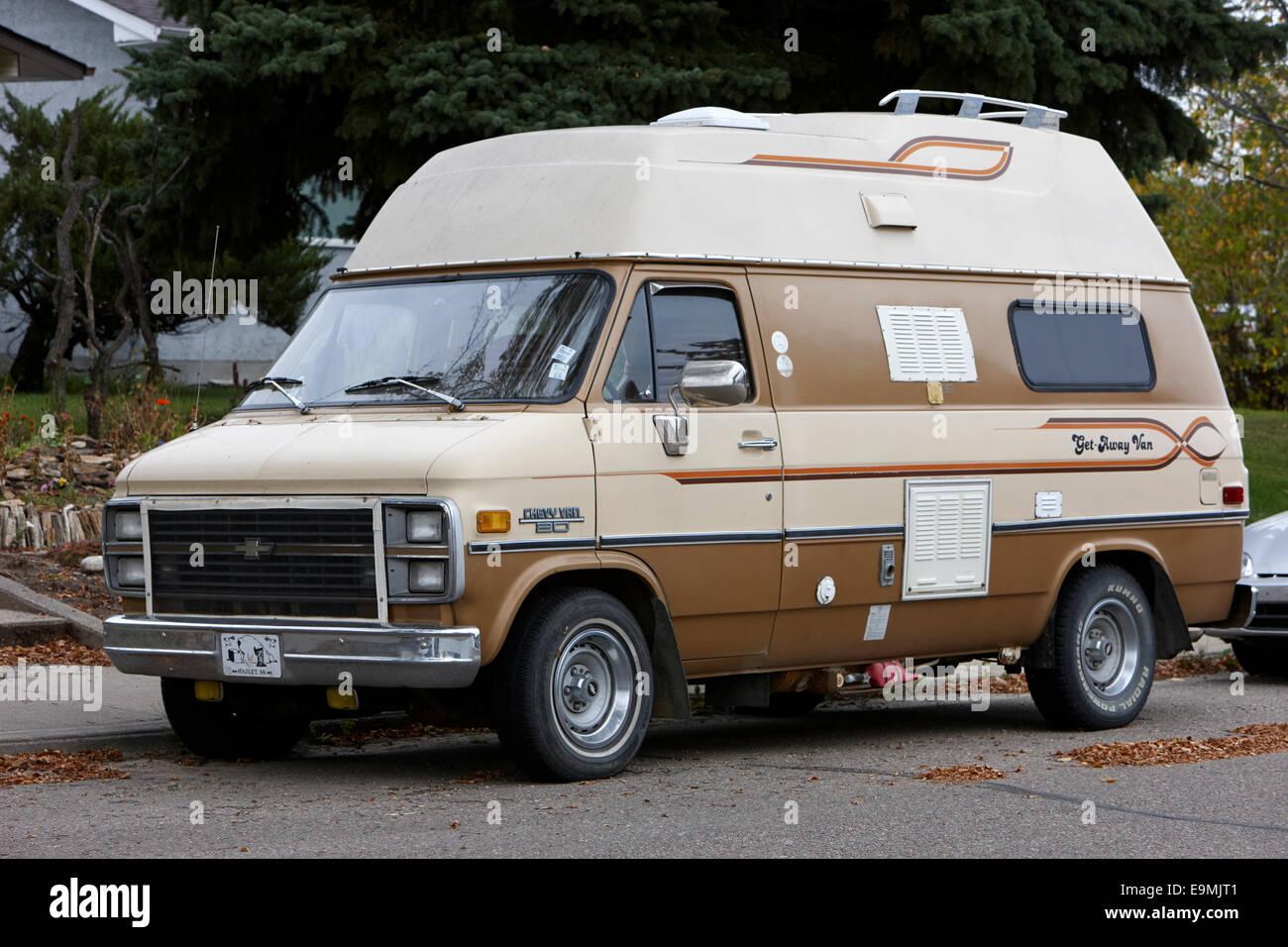 Brown Chevy Van 80 Get Away Small Camper Saskatchewan Canada