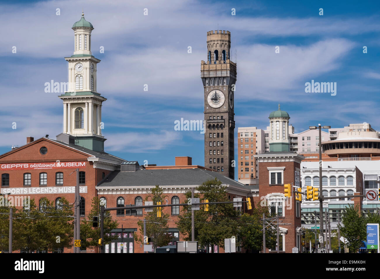 United States, Maryland, Baltimore, Emerson 'Bromo-Seltzer' Tower, Geppi's Entertainment Museum - Stock Image