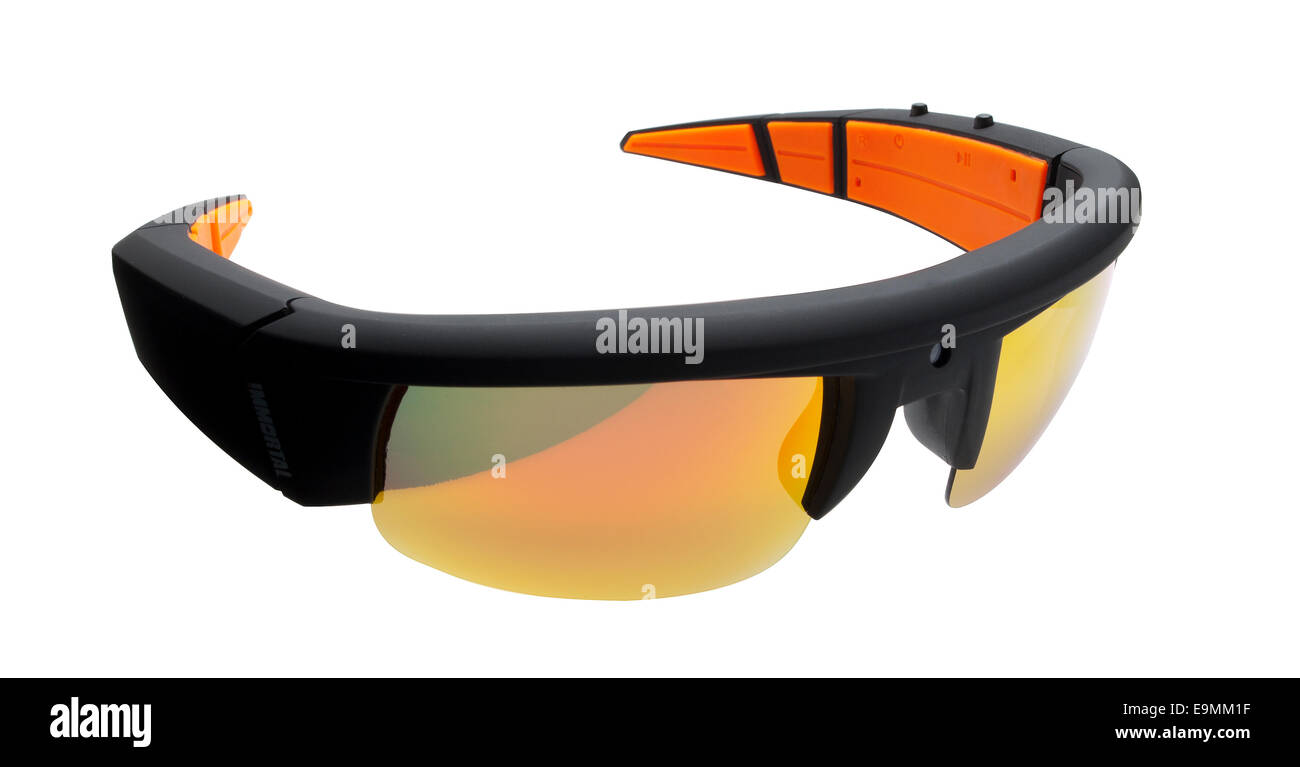 Video camera glasses. A pair of spectacles that incorporate a small video camera. - Stock Image