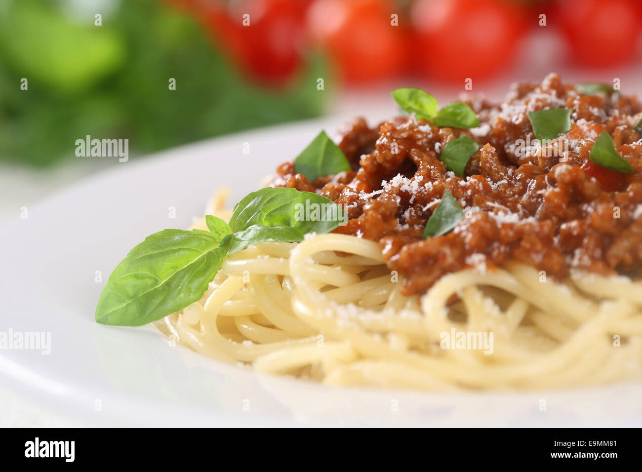 Spaghetti Bolognese noodles pasta meal with tomatoes on a plate - Stock Image