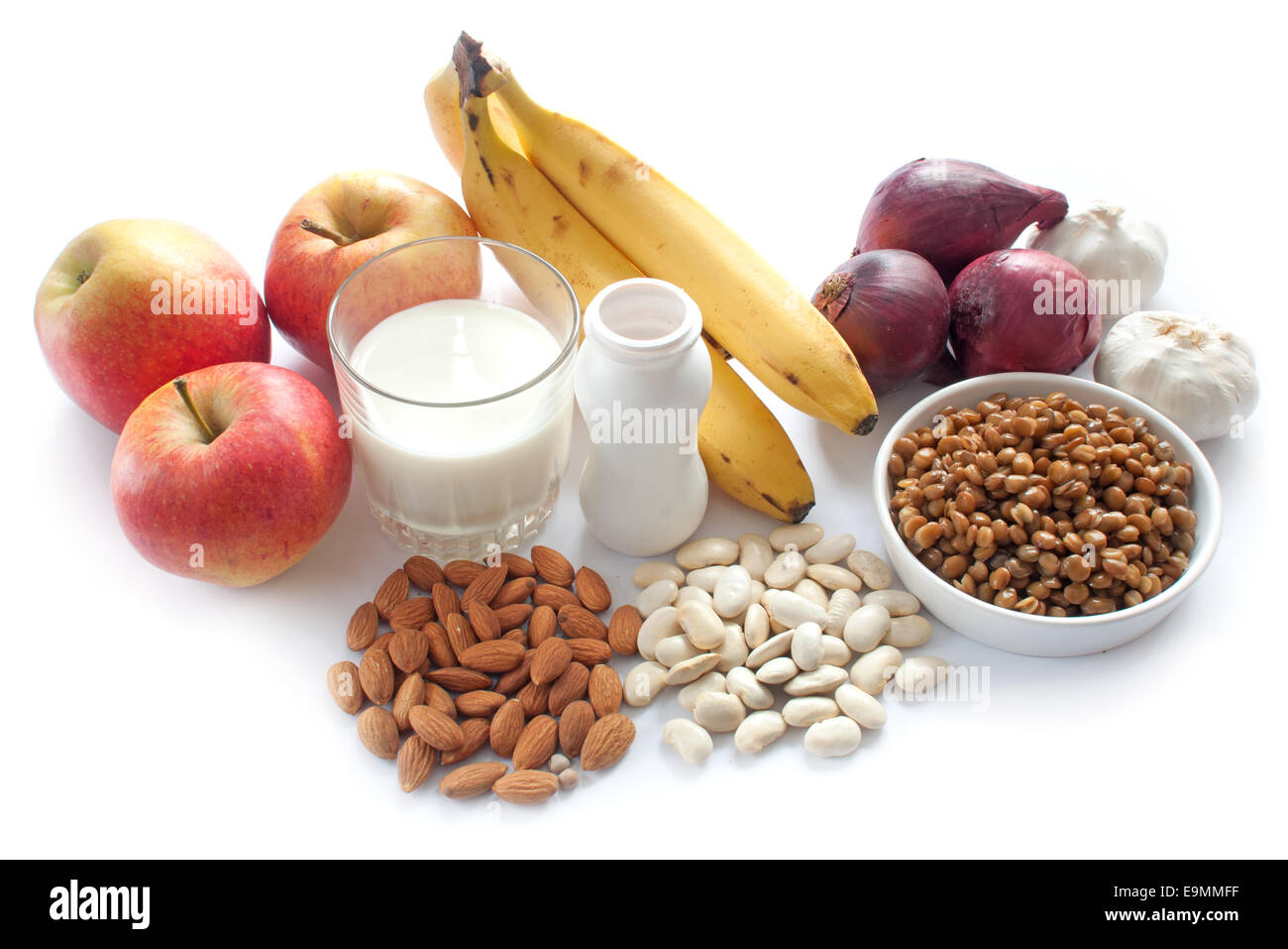 Probiotic (or prebiotic) rich foods including pulses, nuts, fruit and milk products, good for immunity and the gut - Stock Image