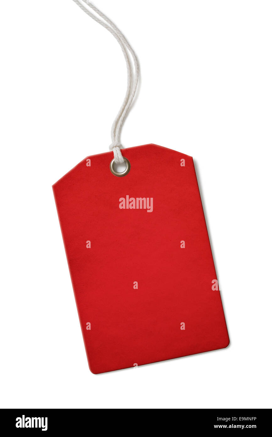 Red blank paper price or sale tag isolated - Stock Image