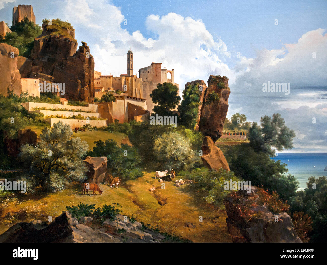 Vue prise de Roquebrune en Italie -  View from Roquebrune Italy 183 Lancelot Théodore Turpin de Crissé - Stock Image