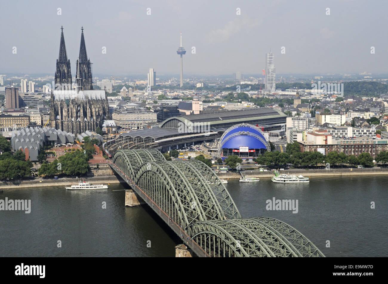 Hohenzollern Bridge, Rhine River, Cologne, Germany Stock Photo