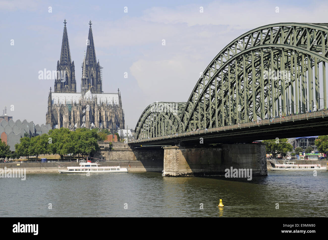 Cathedral, Rhine River, Cologne, Germany Stock Photo