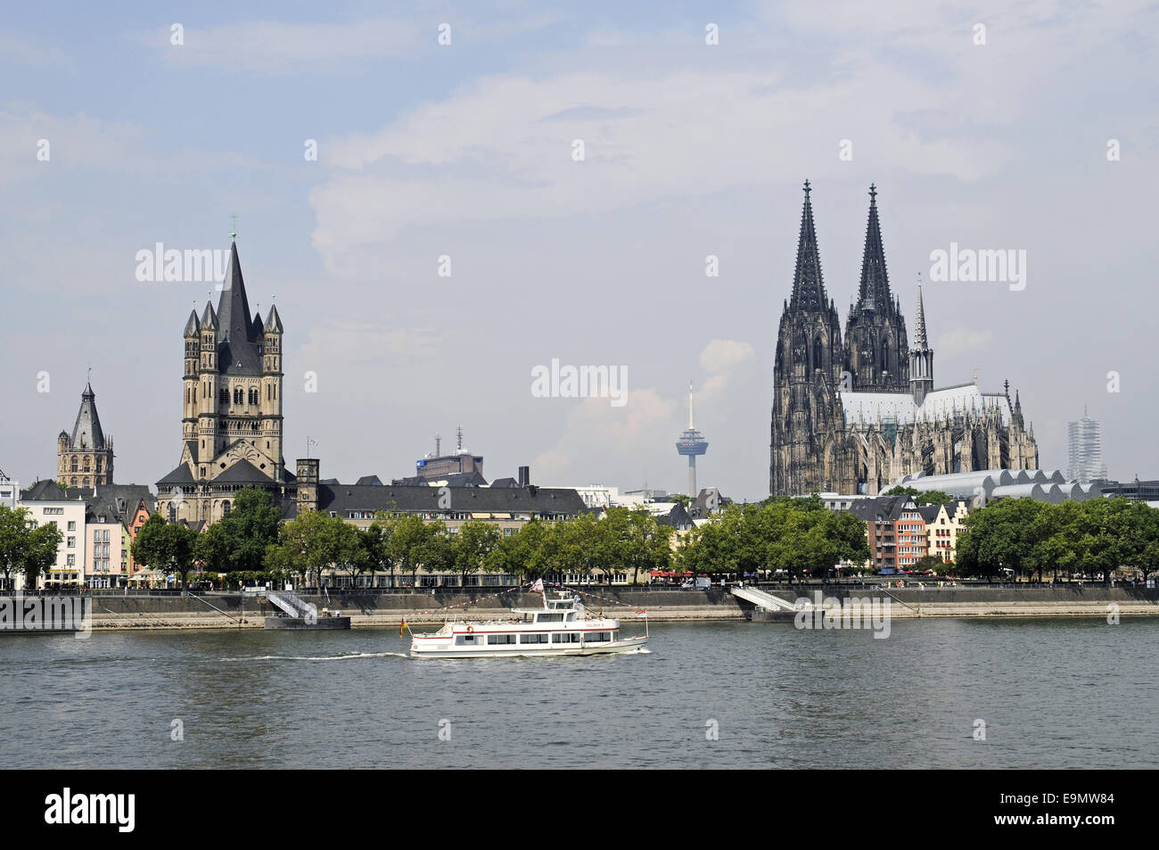 riverside, Rhine River, Cologne, Germany Stock Photo