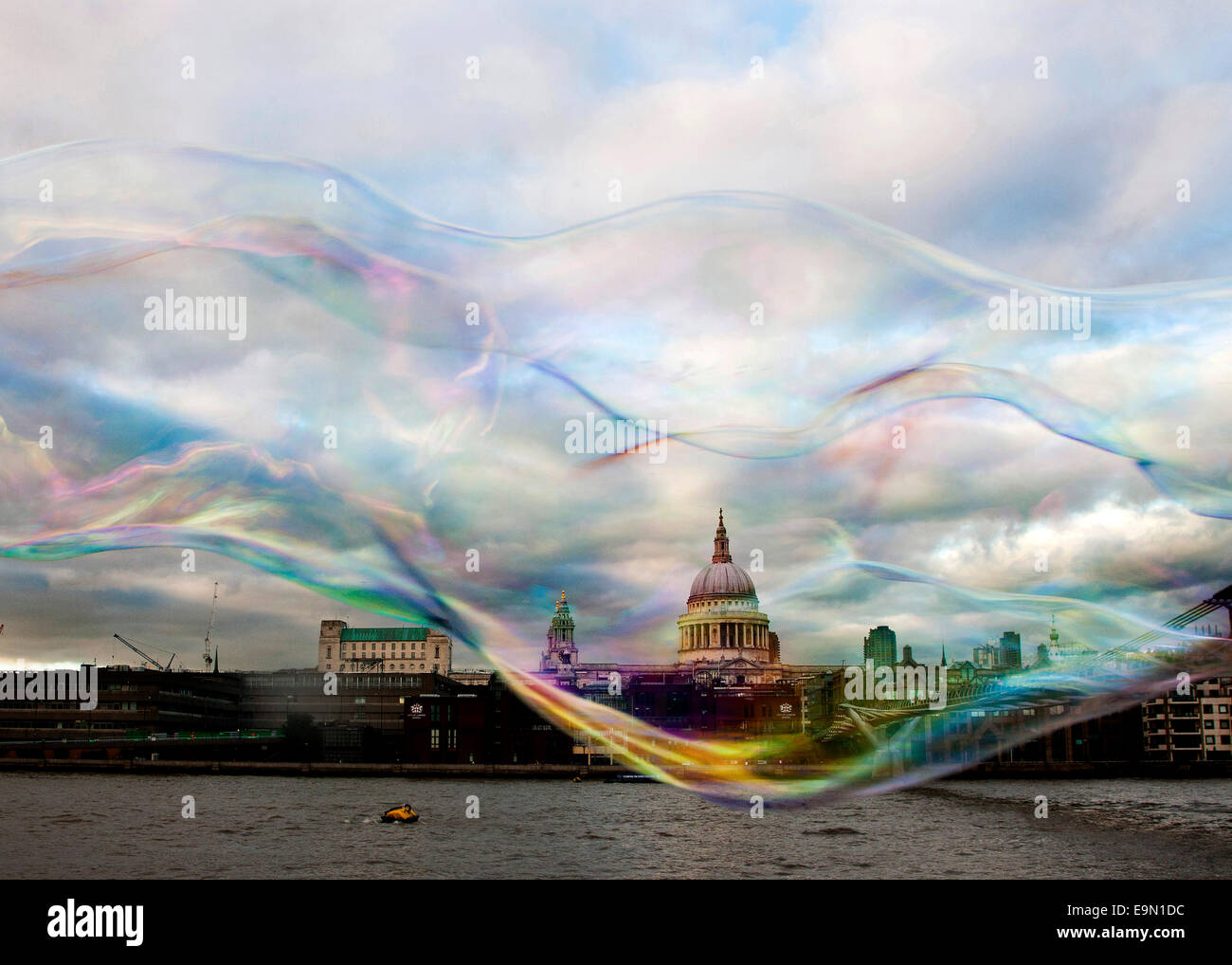 An abstract view of St Paul's Cathedral London in a bubble - Stock Image