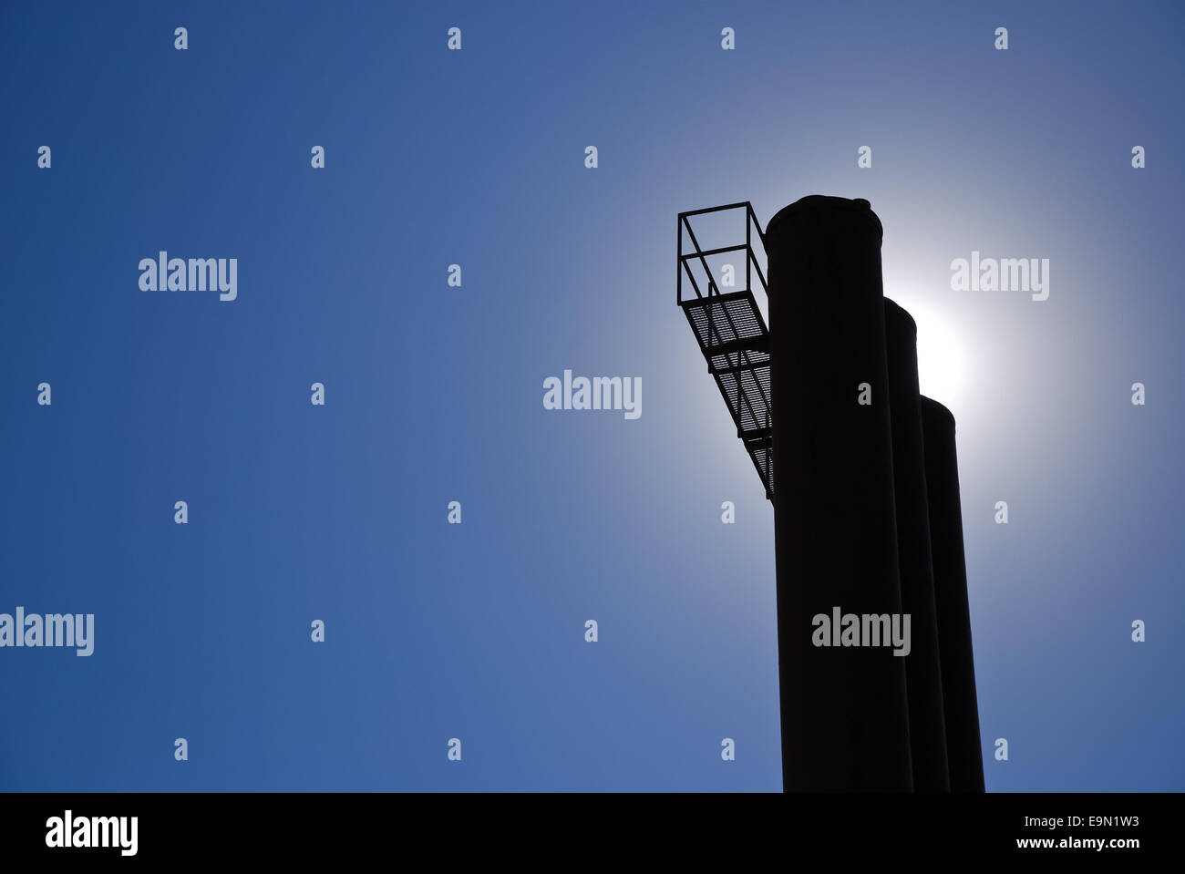 Chimney at factory - Stock Image