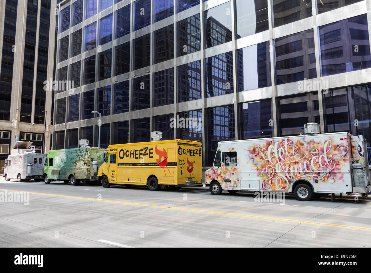 Food Trucks At Lunchtime On Street Downtown Minneapolis Minnesota