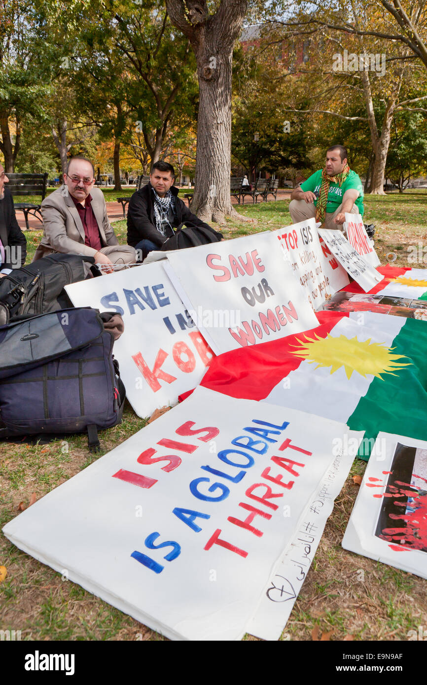 Kurdish-Americans protesting in front of the White House against ISIS and requesting continual support of Kurdistan Stock Photo