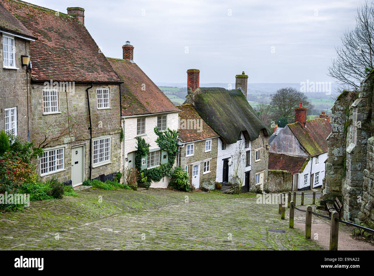 Cottages on a cobblestone street at Gold Hill in Shaftesbury in Dorset - Stock Image