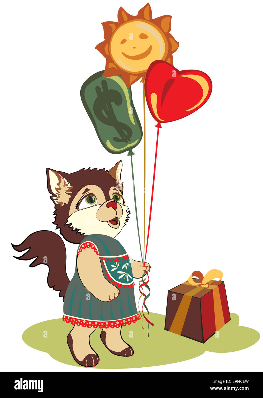 cat greeting card - Stock Image