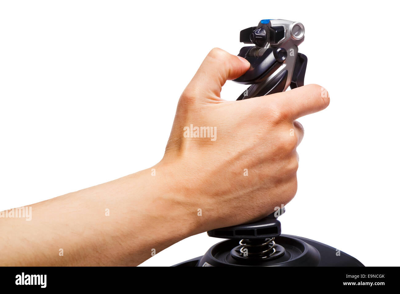 hand joystick control flight simulator - Stock Image