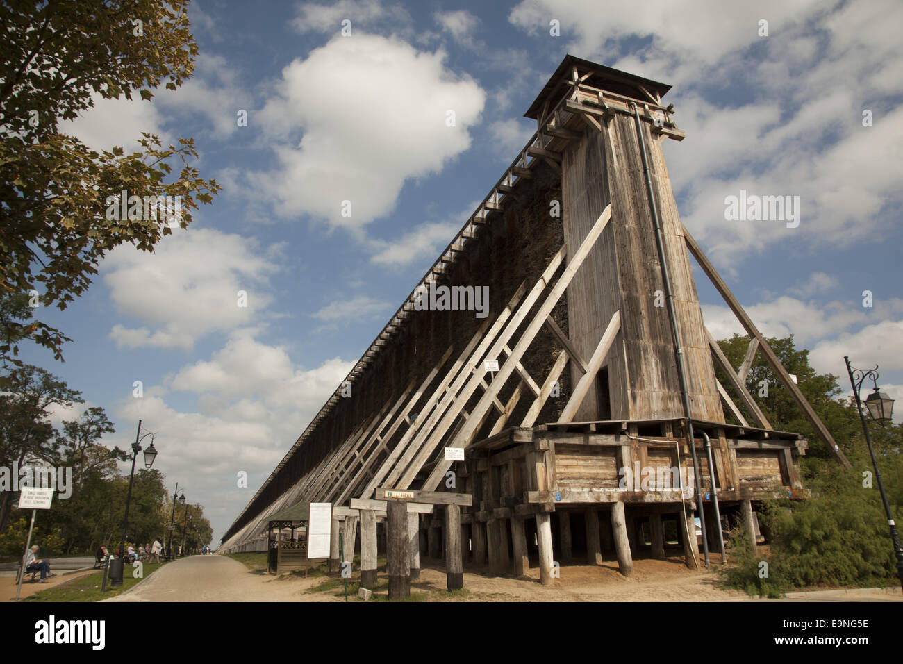Ciechocinek, Poland: The biggest wooden construction of Brine graduation towers in Europe. Health structure that - Stock Image