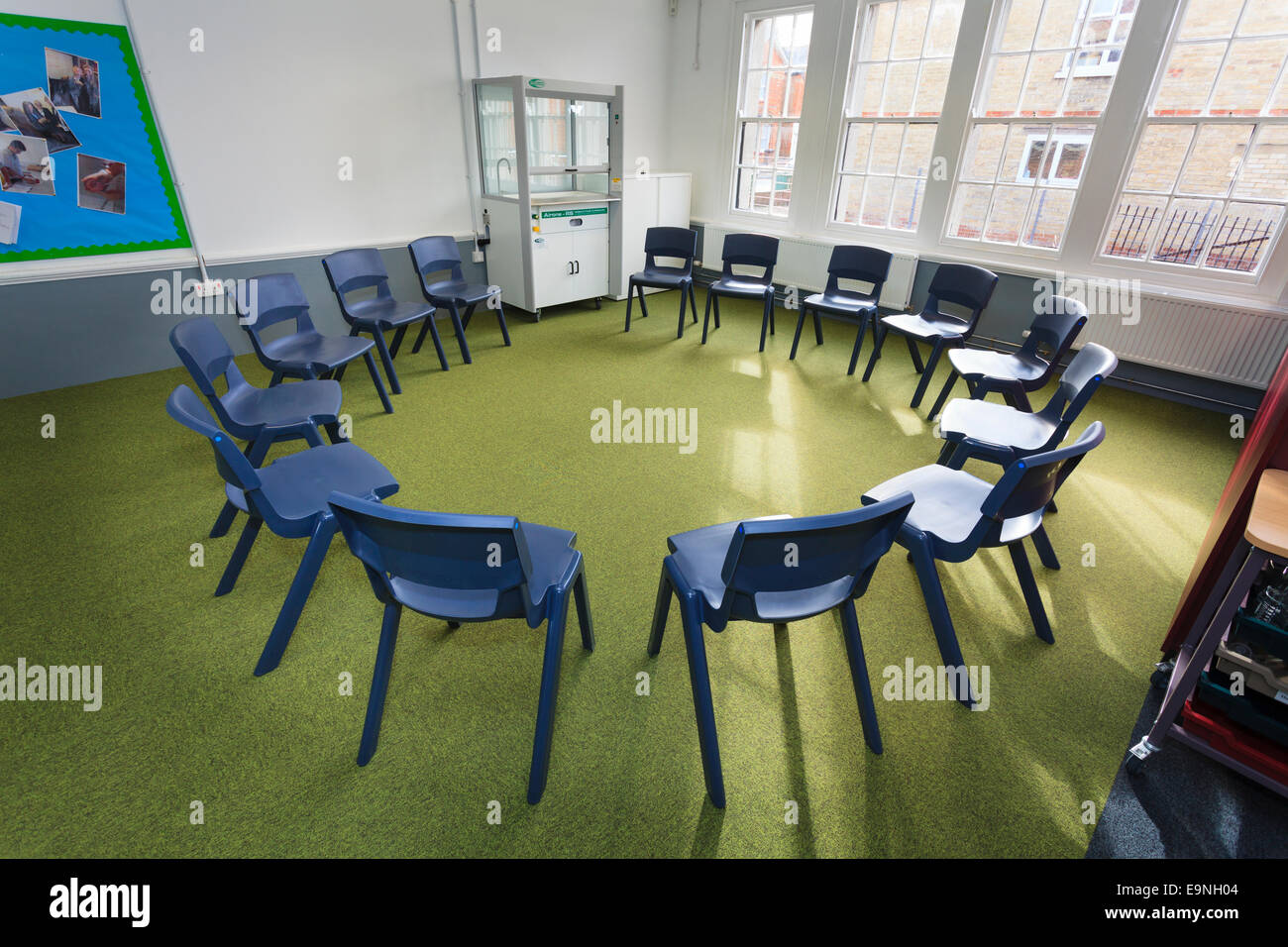 Chairs Arranged In A Circle Classroom At Isle Of Wight Studio School