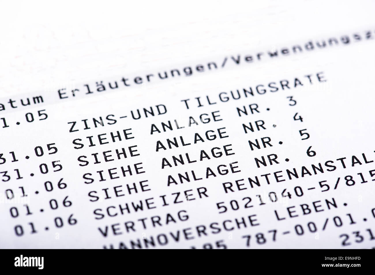 Bank statement with attachments Stock Photo