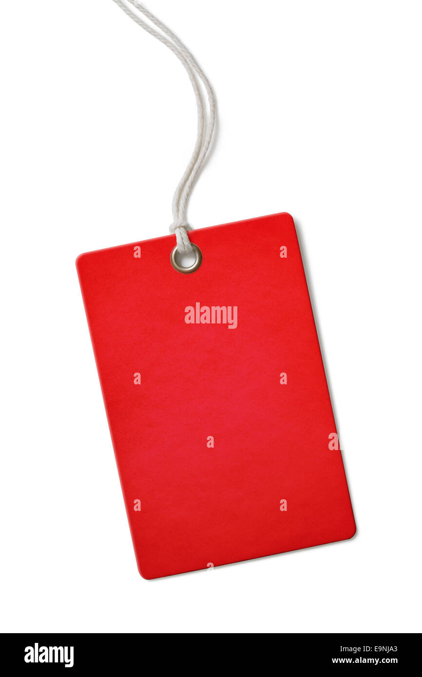 Red blank cardboard price or sale tag isolated - Stock Image