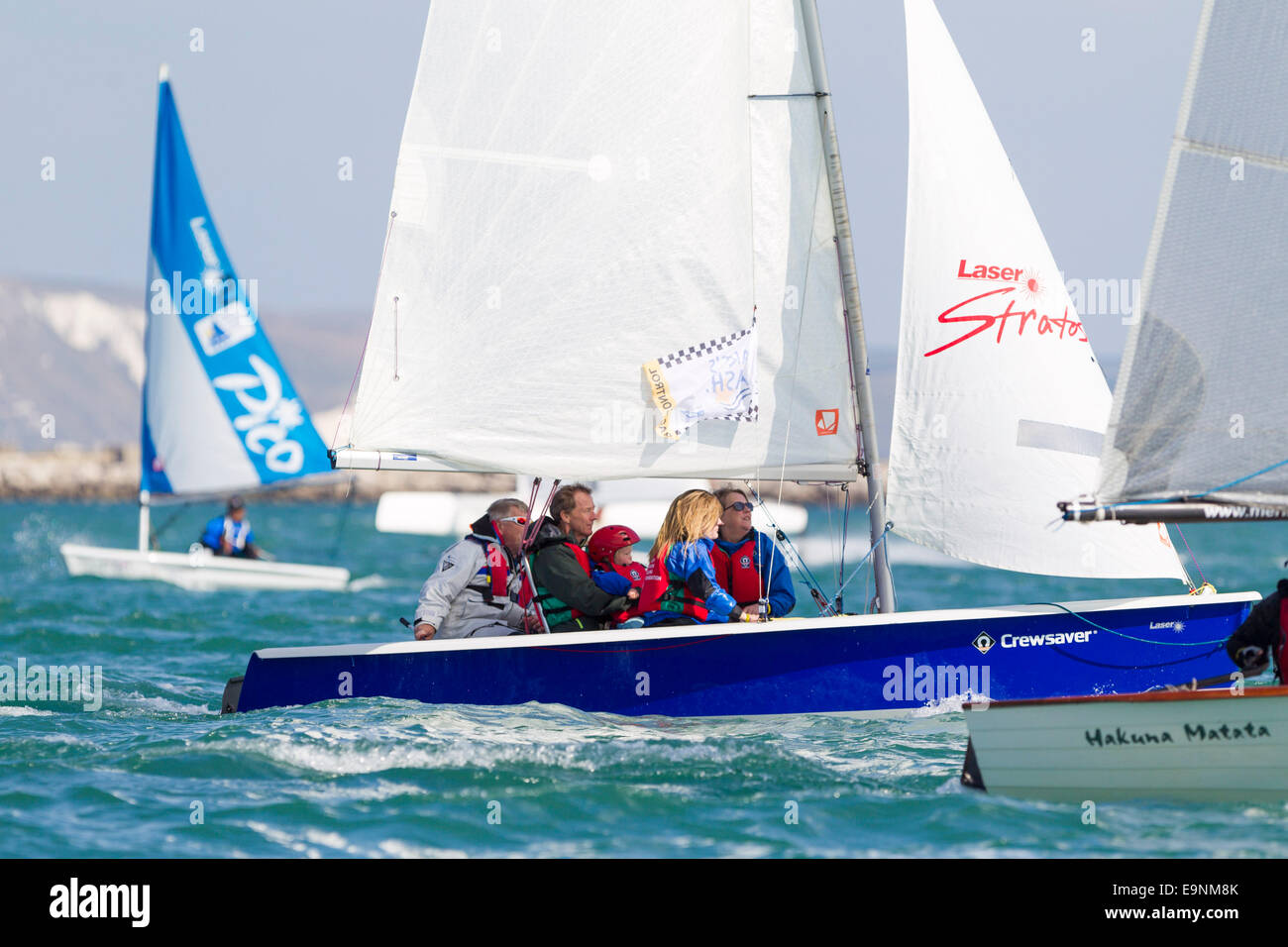 Leah and youngest son Hamish Simpson join in the racing during the Bart's Bash sailing regatta. Stock Photo