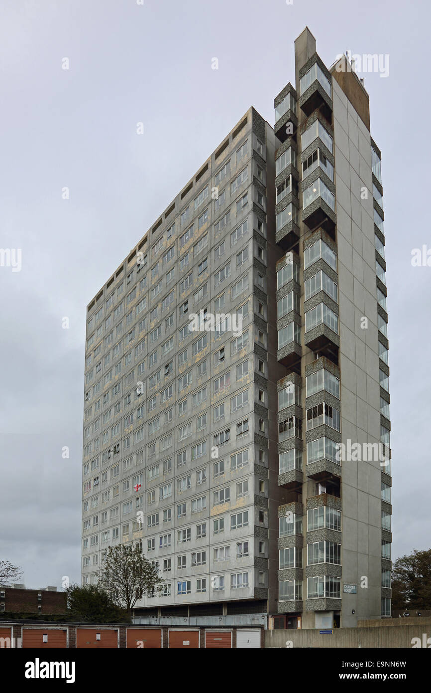 A dilapidated residential tower block in Sutton, South London, UK - Stock Image