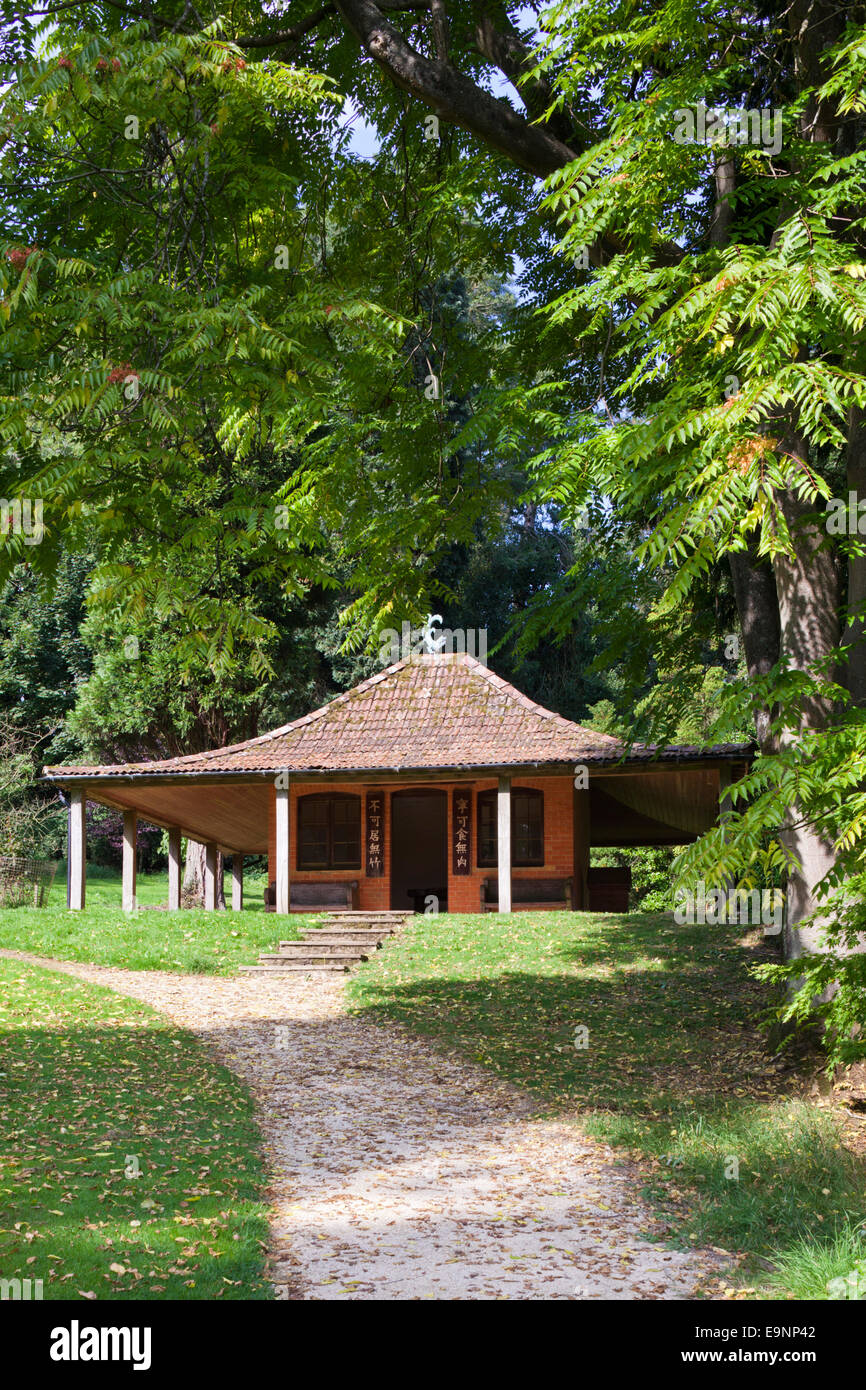 The Japanese Rest House at Batsford Park Arboretum in the Cotswold village of Batsford, Gloucestershire UK - Stock Image