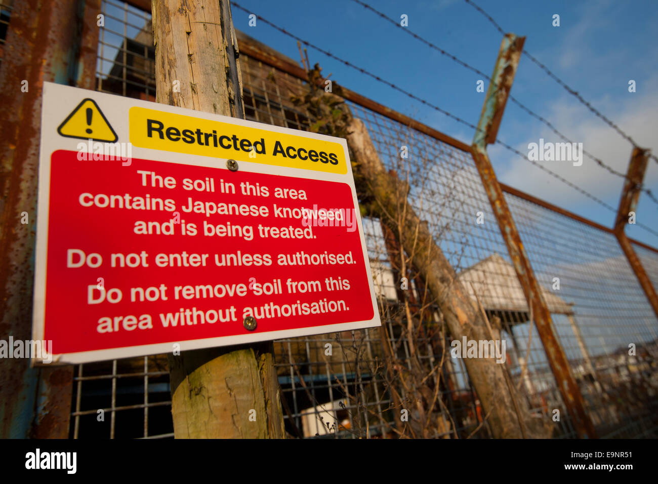 chemical pesticide spray spraying contamination soil permission Restricted Access sign Japanese Knotweed treatment - Stock Image