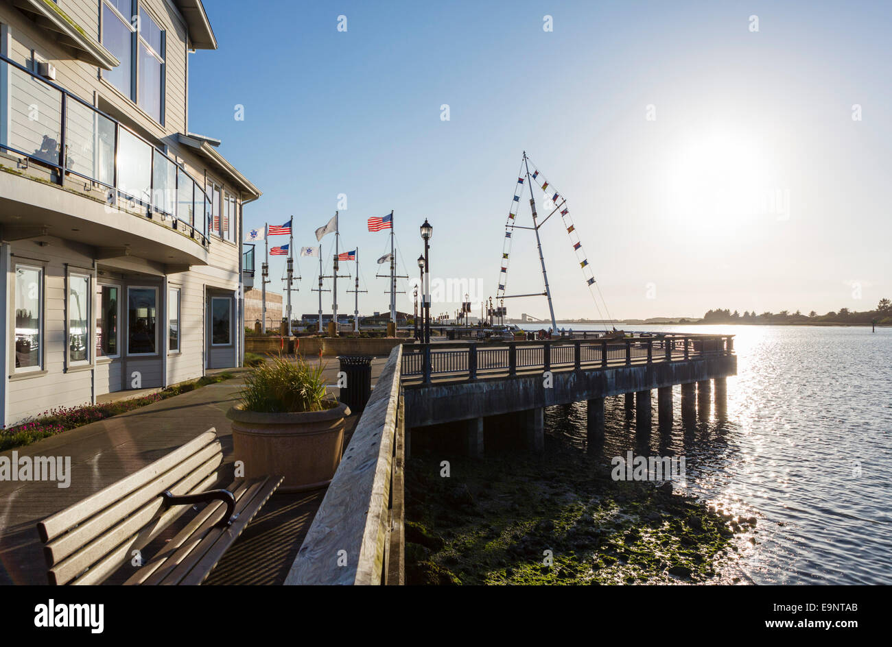 The Boardwalk in downtown Eureka in the late afternoon, Humboldt County, California, USA - Stock Image