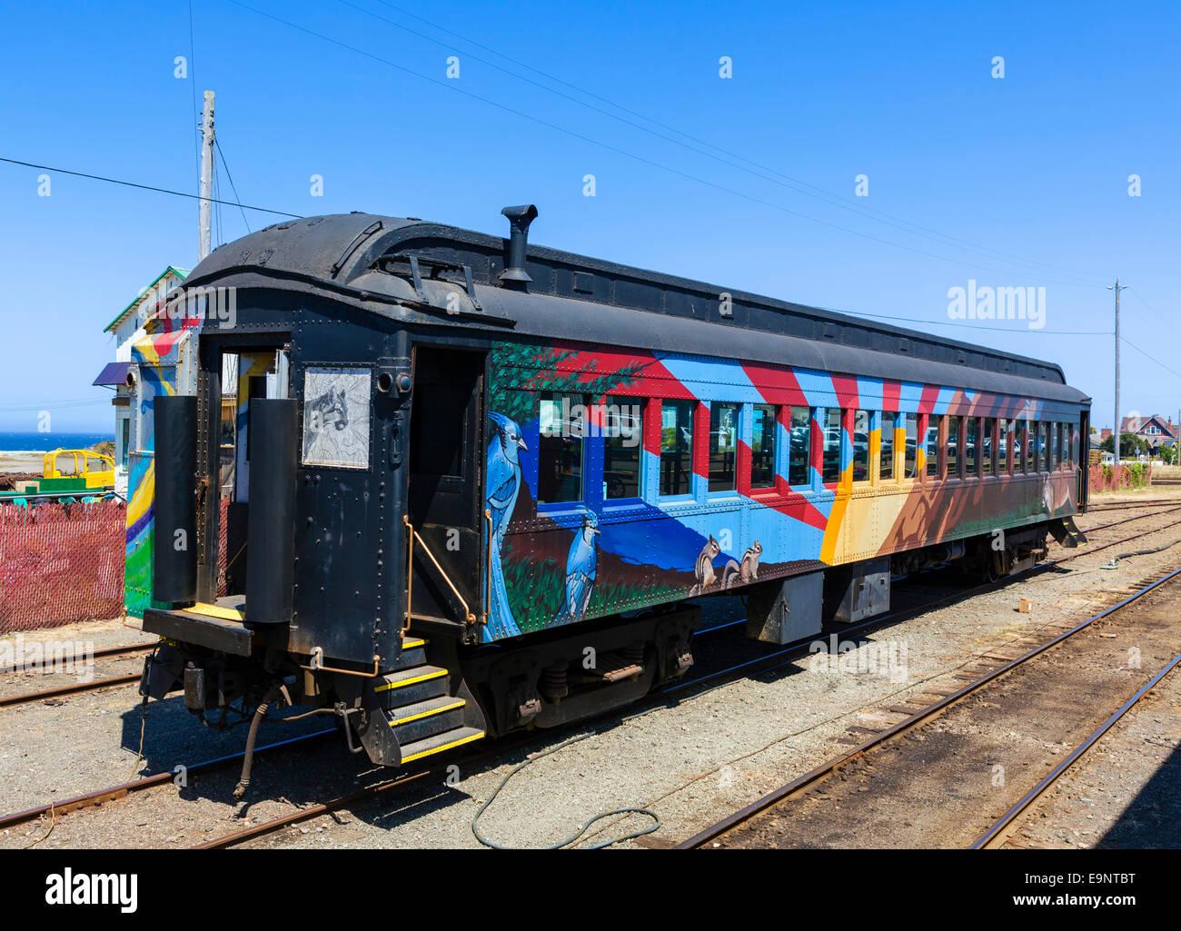 Skunk Train carriage at the terminus in Fort Bragg, Mendocino, California, USA - Stock Image