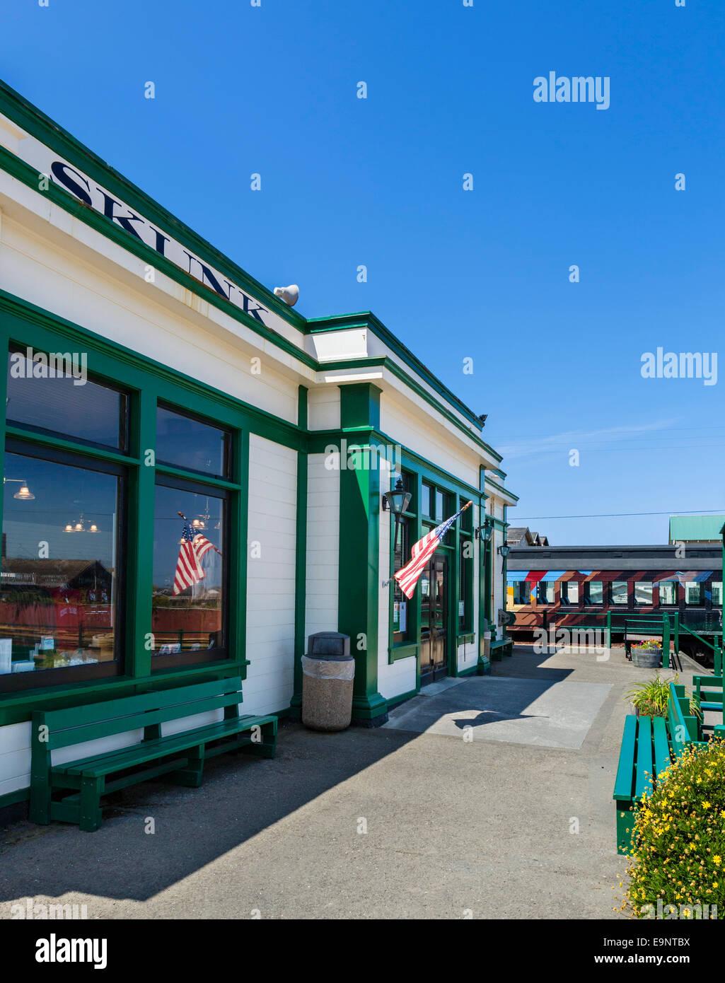 Skunk Train terminus in Fort Bragg, Mendocino, California, USA - Stock Image