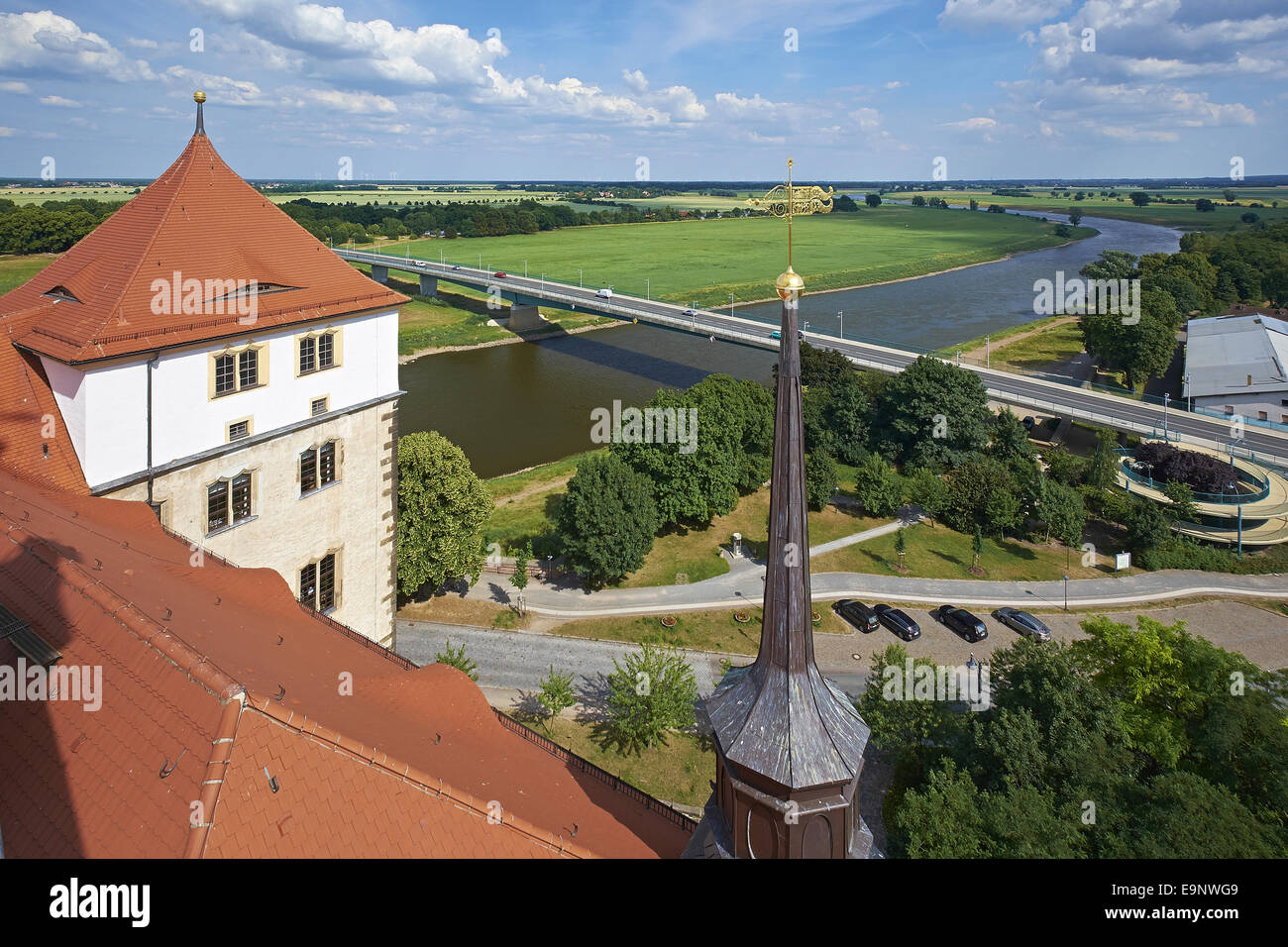 Elbe river from Castle Hartenfels in Torgau, Germany Stock Photo