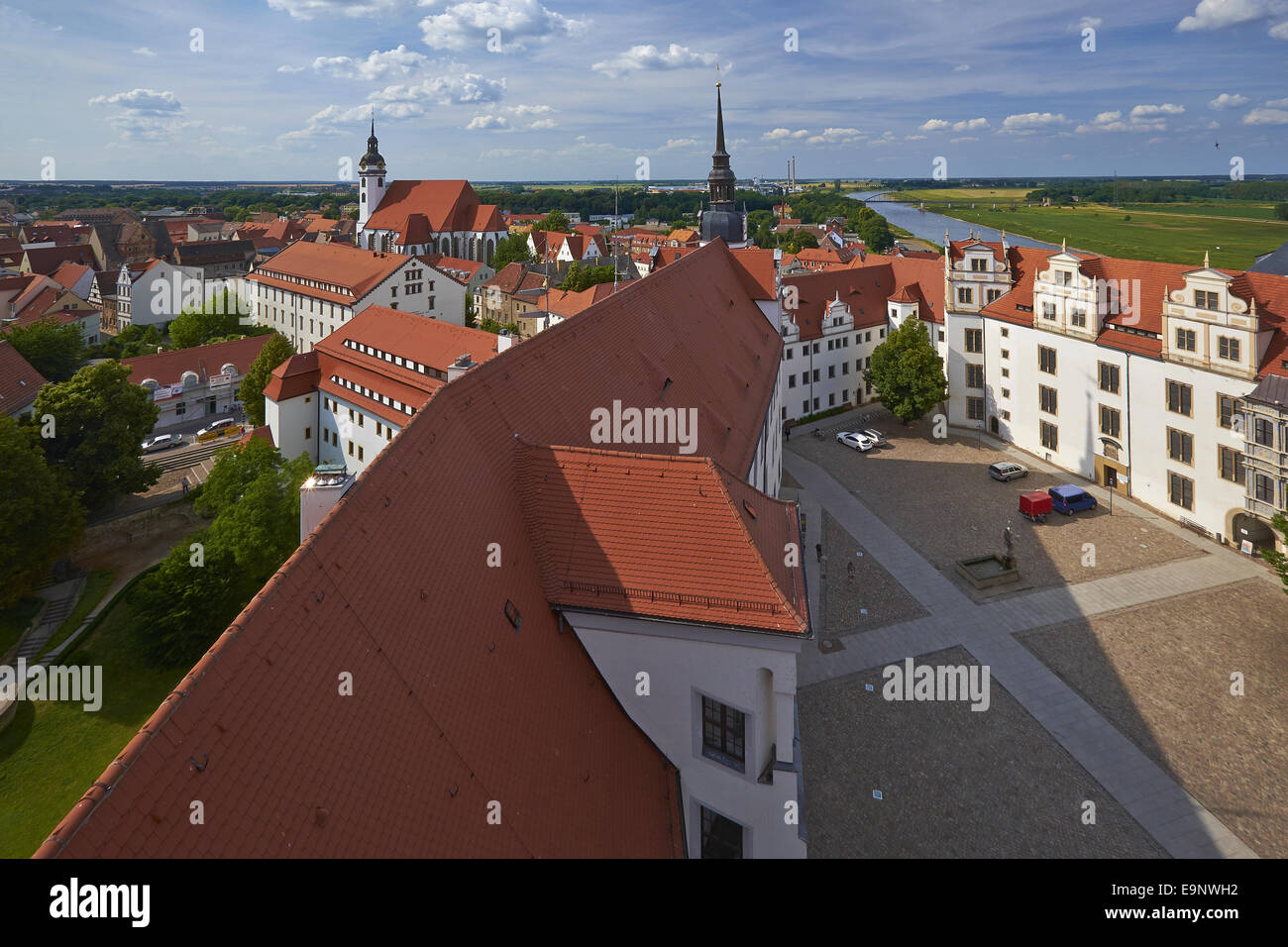 Castle Hartenfels with St. Mary's Church in Torgau, Germany Stock Photo