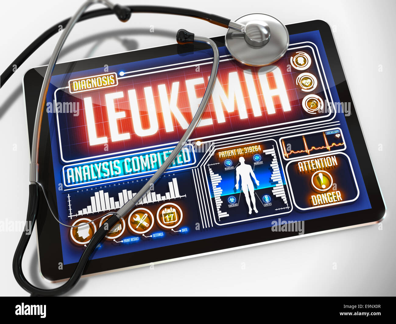 Leukemia on the Display of Medical Tablet. - Stock Image