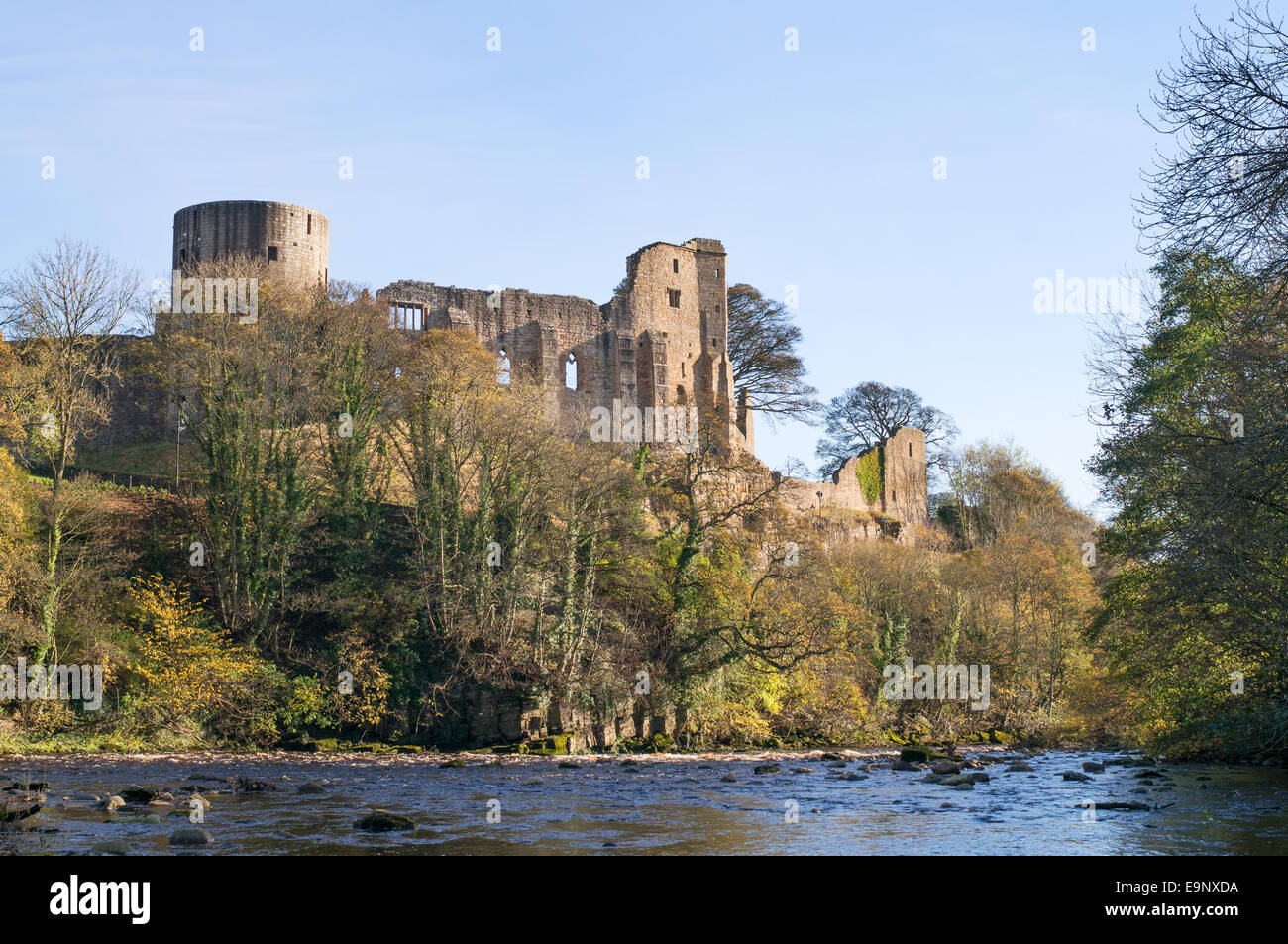 Fortress at Barnard Castle above the river Tees, north east England, UK - Stock Image