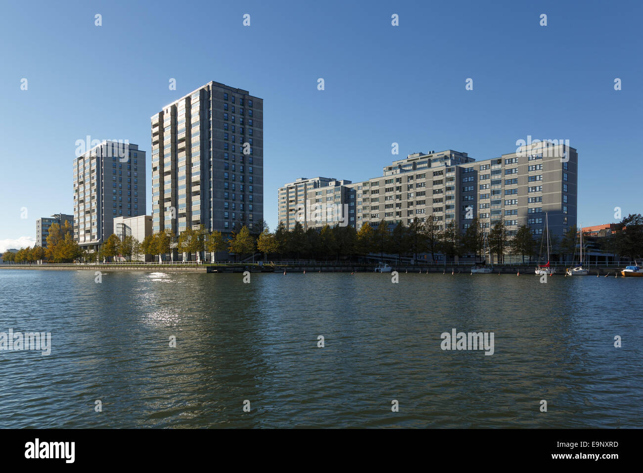 Merihaka is a seashore residential area in central Helsinki, Finland consisting of large high-rise concrete housing Stock Photo