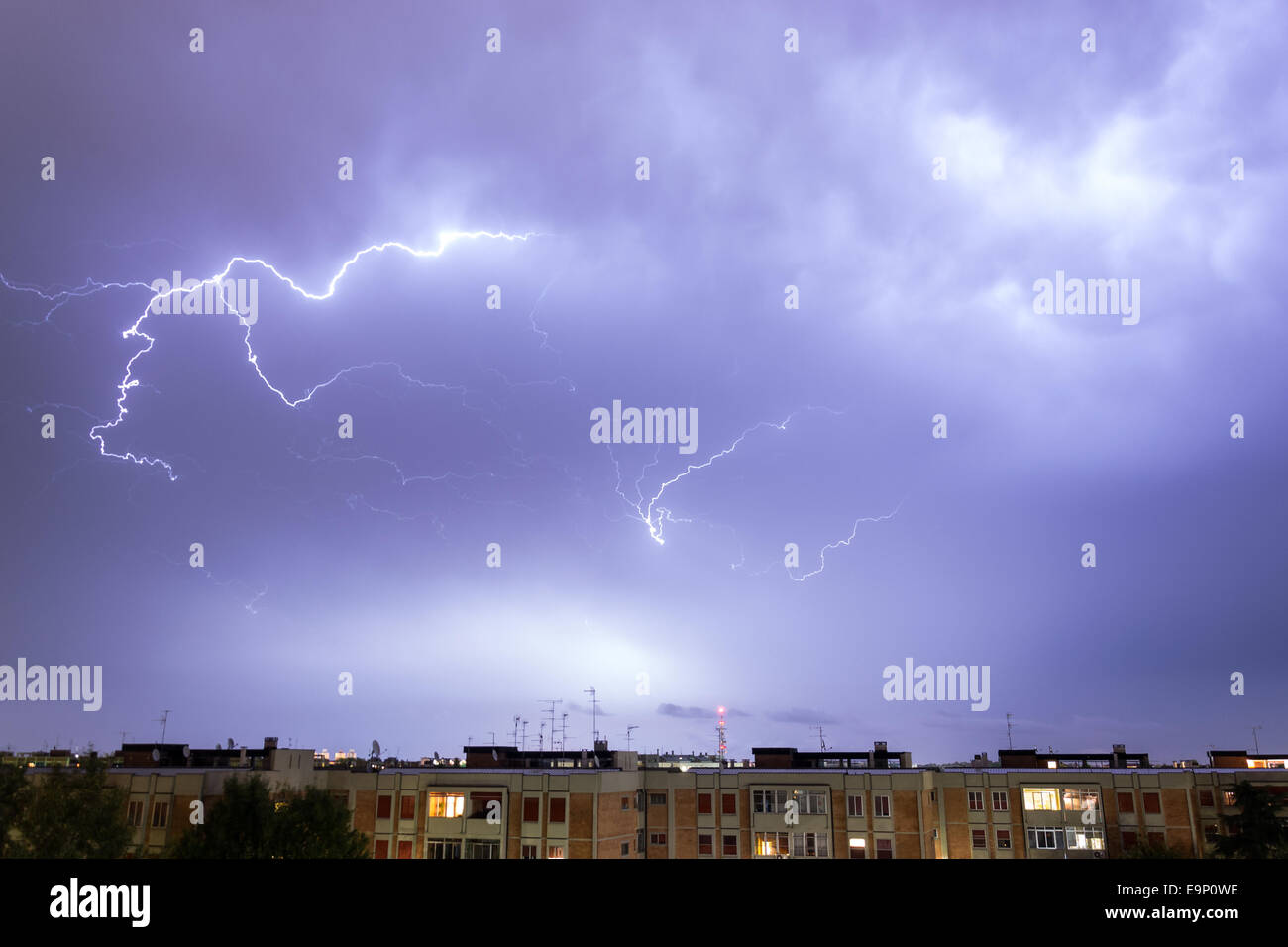 Storm with some lightning strike in the sky - Stock Image