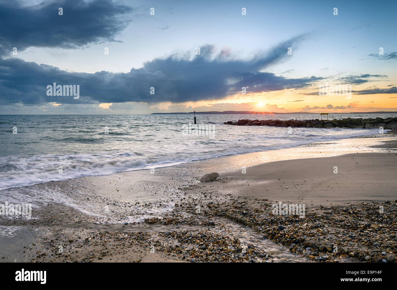 Sunset on Solent Beach at Southbourne in Bournemouth, Dorset Stock Photo