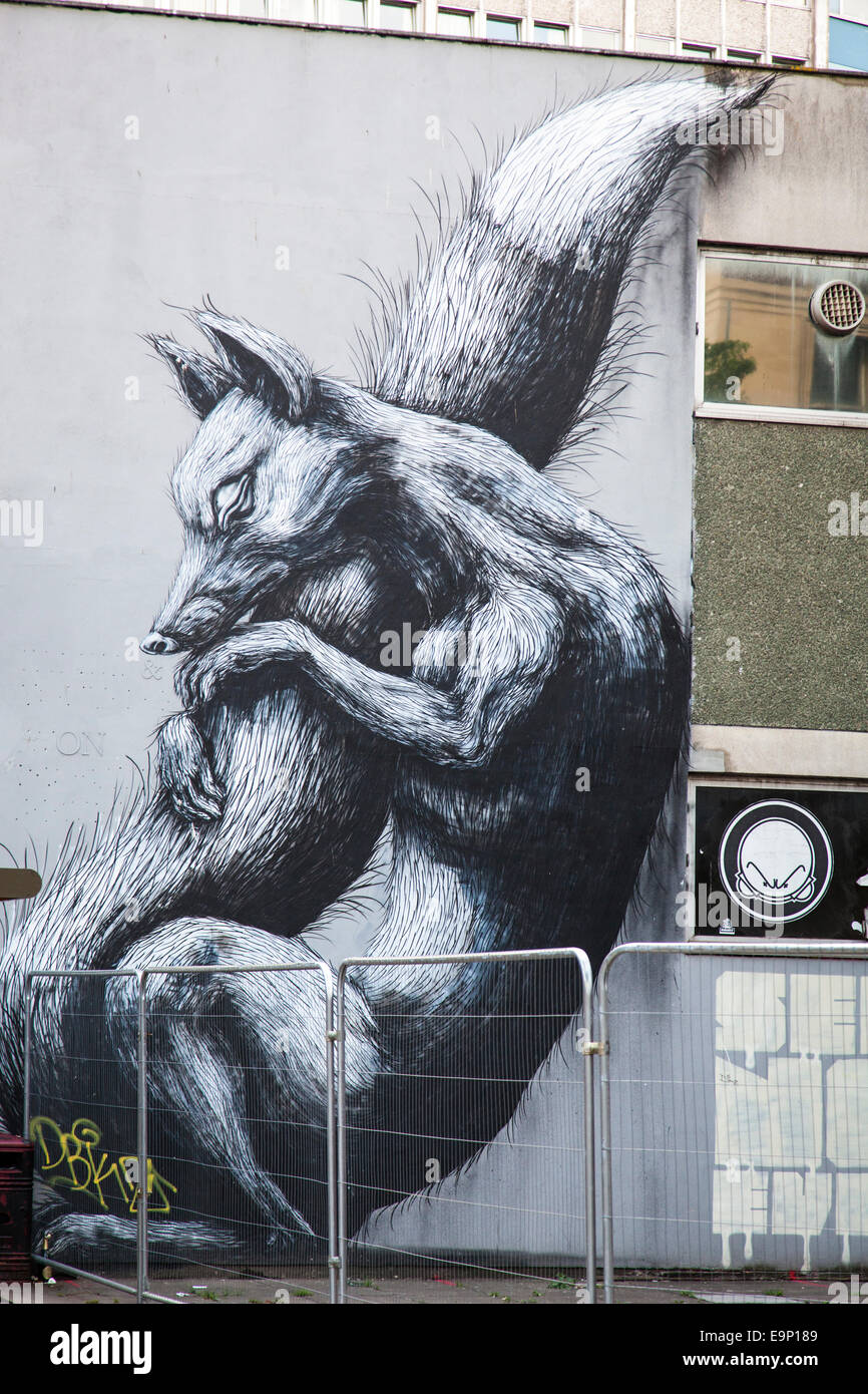 a giant fox mural on the side of a building stock photo 74857337
