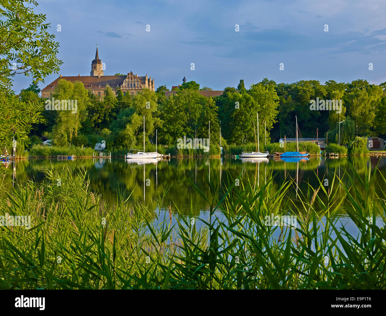 Lake Suesser See with Seeburg Castle, Germany - Stock Image