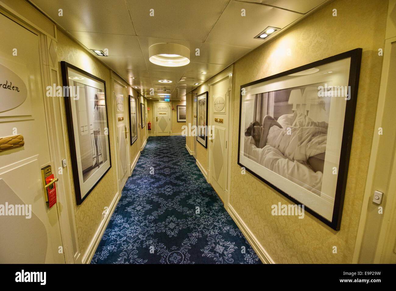 hallway design at the Grand Hotel in Oslo, Norway - Stock Image