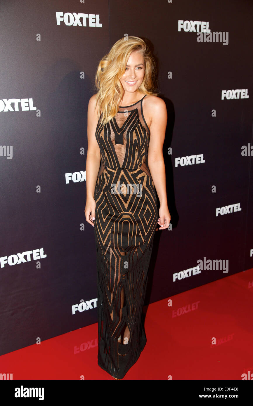 Sydney, Australia. 30th October, 2014. Channel IV's Carrisa Walford arrives on the red carpet for the annual Foxtel - Stock Image