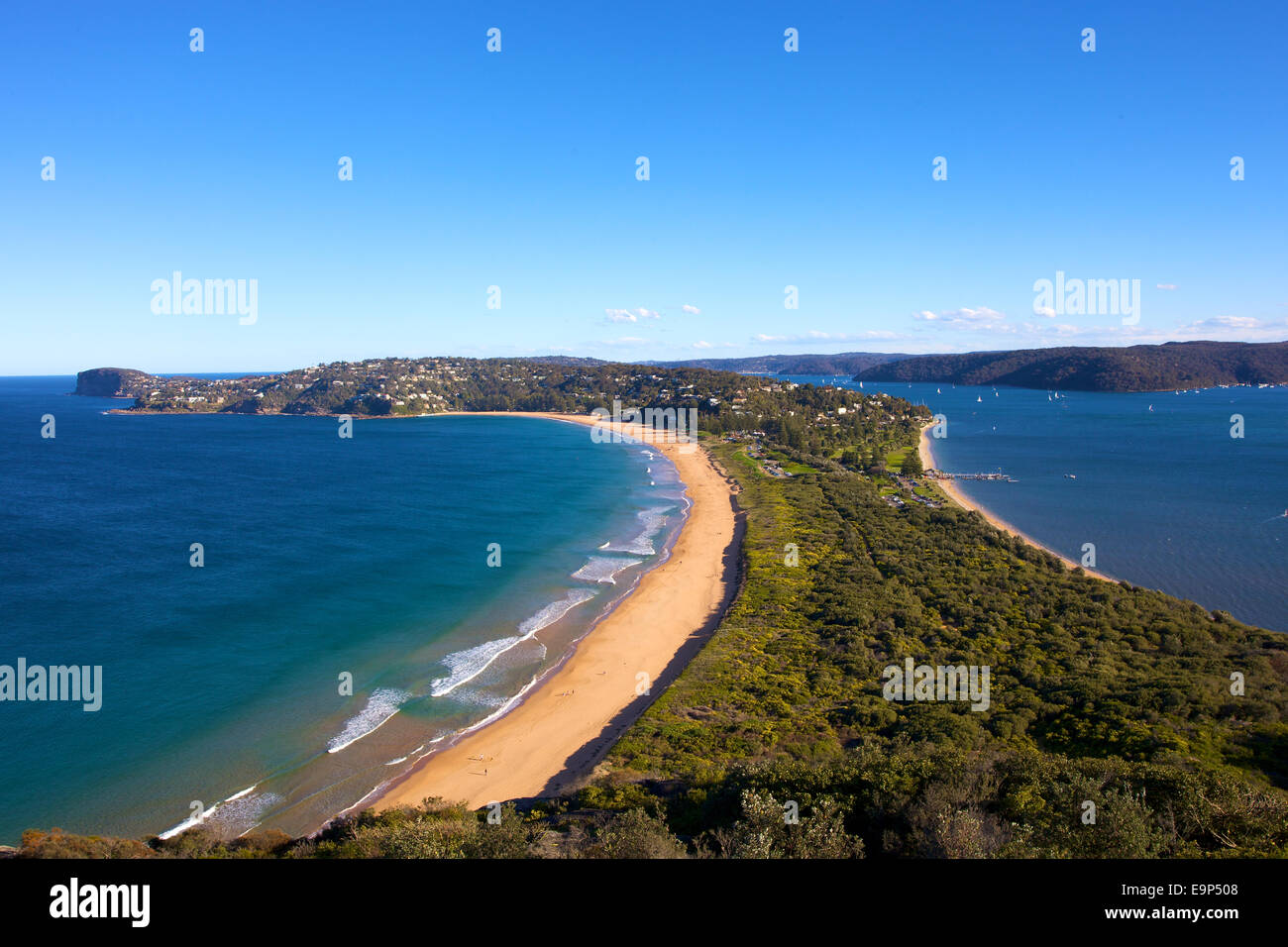 Views of Palm Beach from Barrenjoey Lighthouse, Sydney, Australia..Paul Lovelace Photography - Stock Image