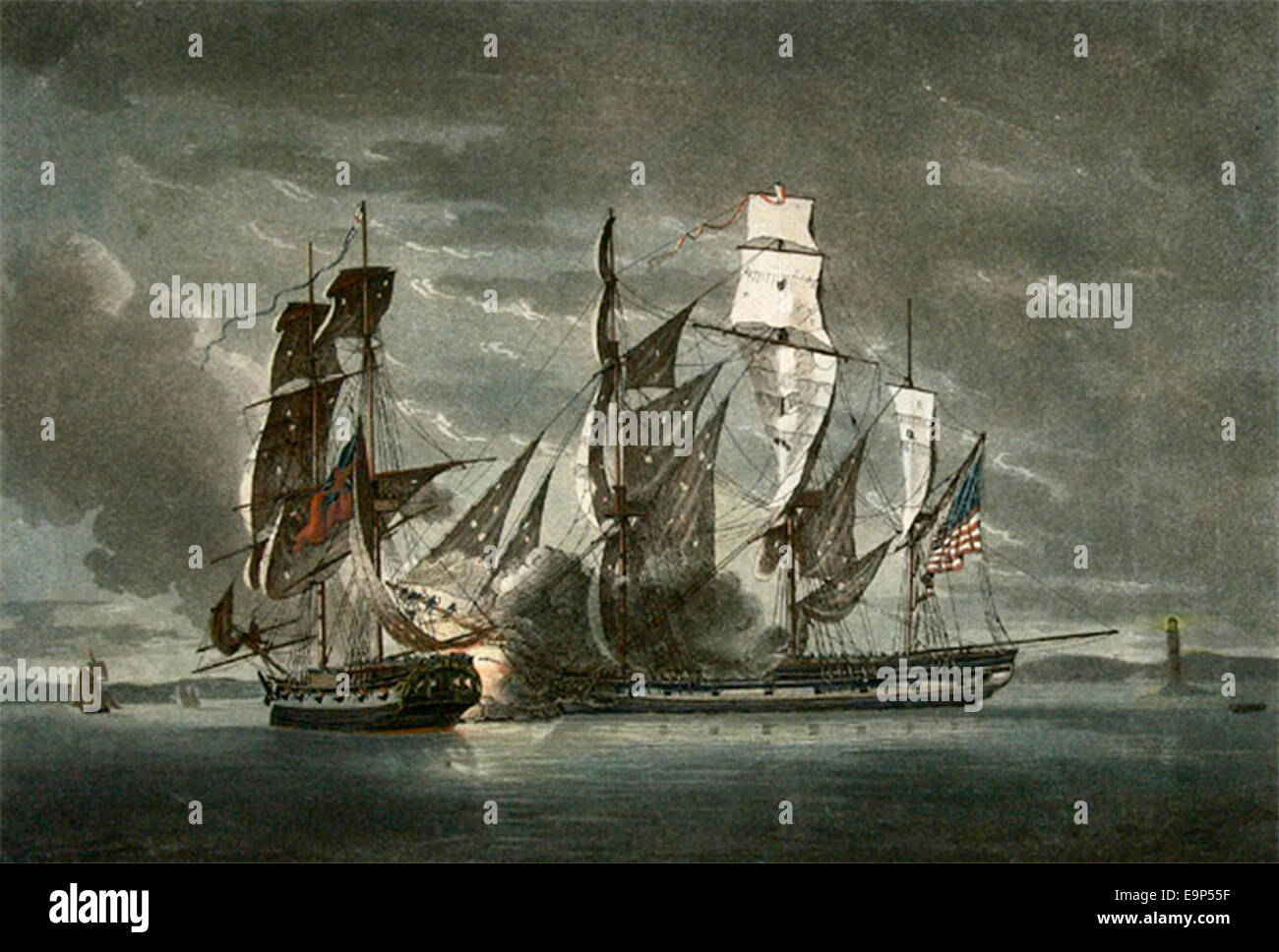 A View of His Majesty's Brigg Observer, Commanded by Lieut. John Crymes engaging the American Privateer Ship Jack, - Stock Image