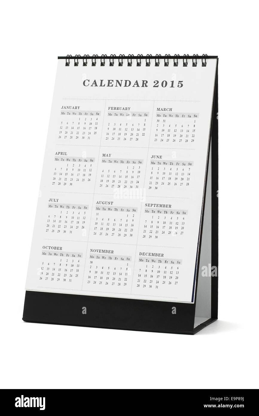 Desktop calendar 2015 on white background - Stock Image