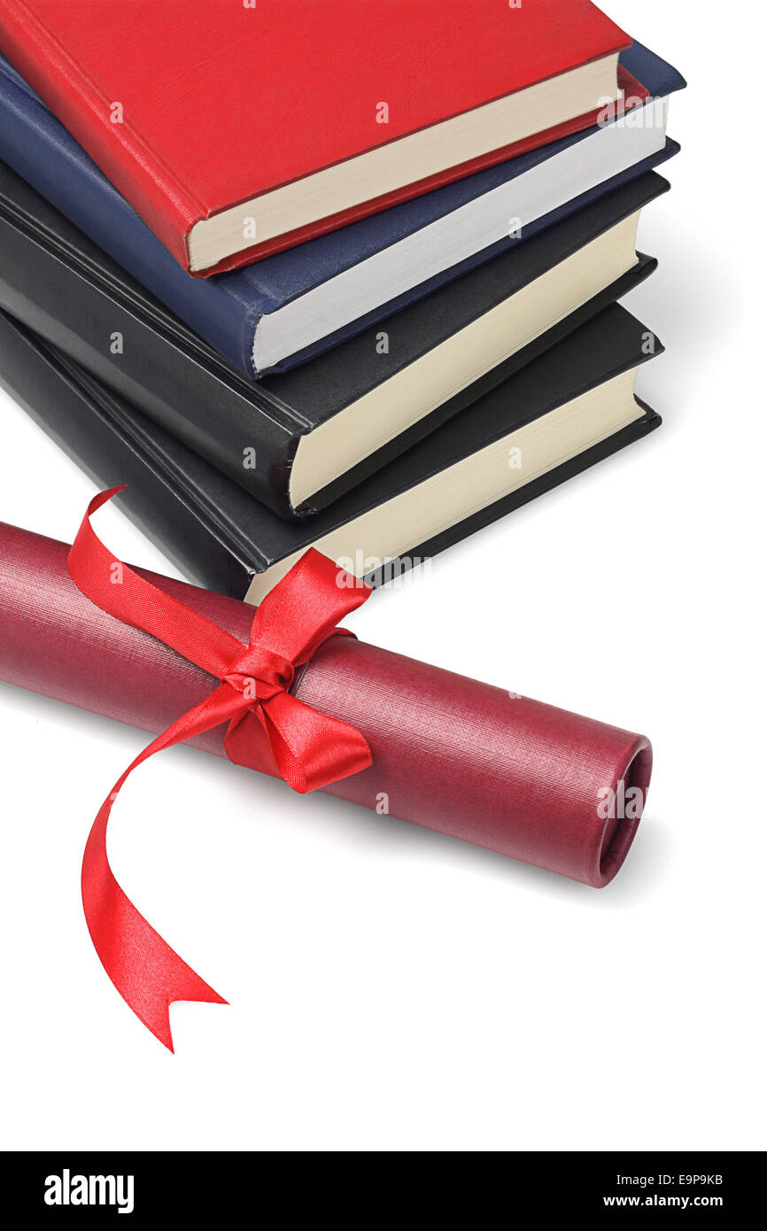 Stack Of Text Books And Scroll Container On White Background - Stock Image