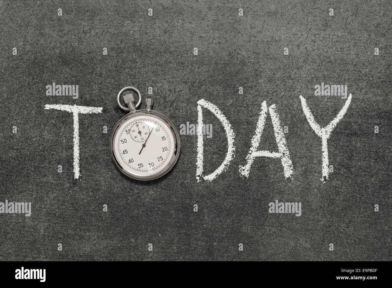 today word handwritten on chalkboard with vintage precise stopwatch used instead of O - Stock Image