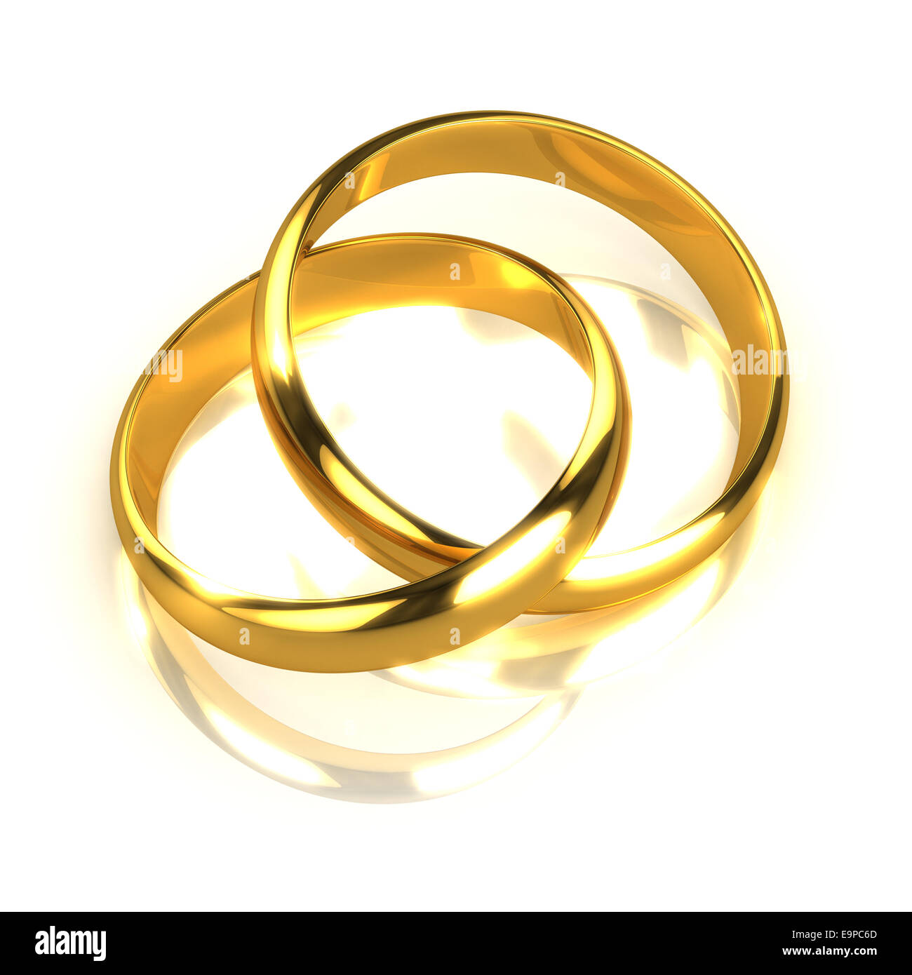 3d render of two gold rings joined together stock photo 74865909