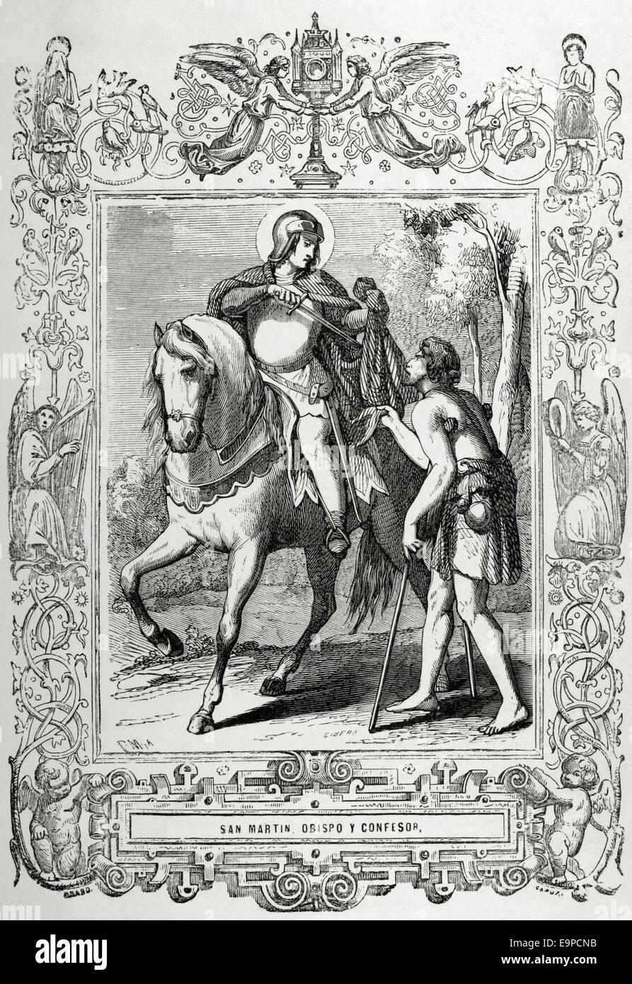 Saint Martin of Braga (520-580) sharing his cloak with a beggar. Engraving. - Stock Image