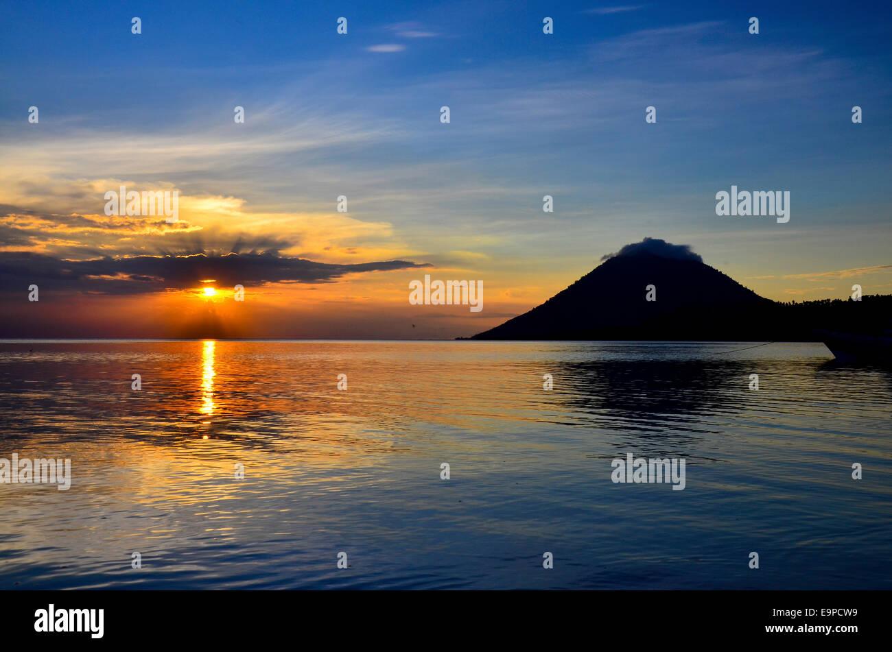 Volcano Manado Tua, Bunaken National Park, Sulawesi, Indonesia - Stock Image