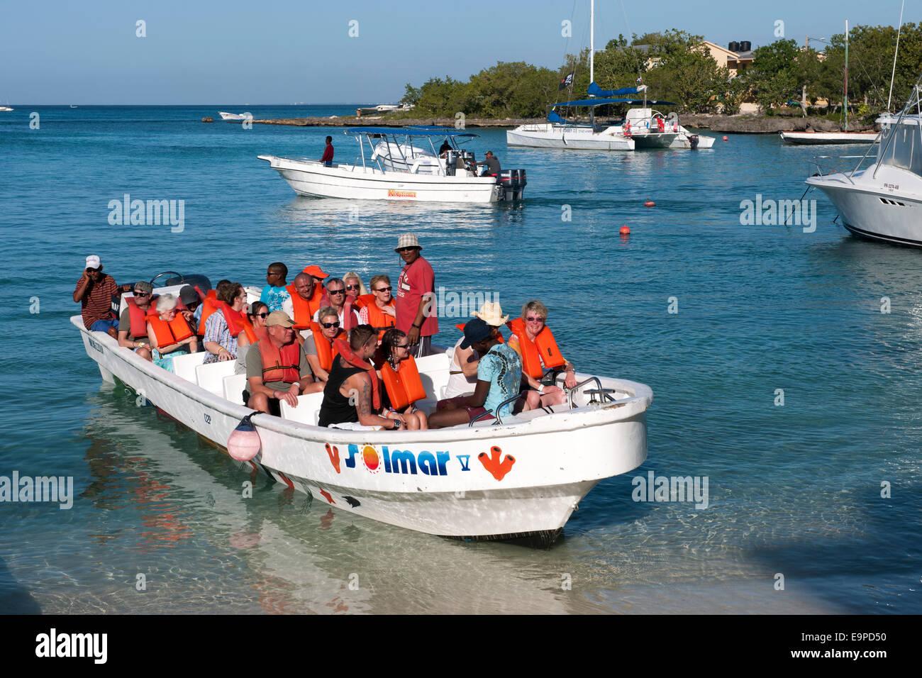 Dominikanische Republik, Osten, Bayahibe, Boot zur Insel Saona - Stock Image